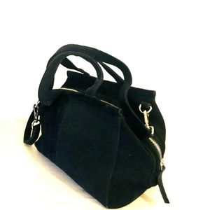 Topshop Black Suede Slouch Doctor Convertible Bag